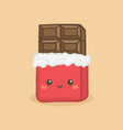 cute chocolate bar cartoon vector image vector image