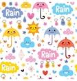 cute umbrellas rain sky seamless pattern vector image