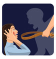 domestic physical violence over scared woman vector image