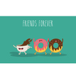 Donat and coffee vector image vector image