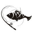 fish and fishing rod silhouette vector image