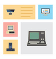 flat icon laptop set of computer pc display and vector image vector image