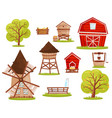 flat set of farm icons buildings vector image vector image