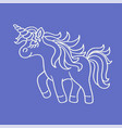 funny unicorn white sketch icon on the blue vector image vector image