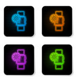 glowing neon smartwatch and gear icon isolated on vector image vector image