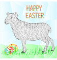 happy easter easter egg with lamb and grass vector image