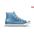 high top canvas denim sneaker mockup vector image vector image