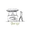 hot dog fast food kiosk street concept vector image vector image
