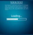 loading icon on blue background progress bar icon vector image vector image
