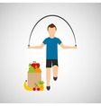 man jump rope exercising bag health food vector image vector image