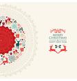 Merry Christmas vintage circle postcard vector image vector image