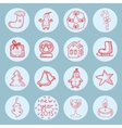 New year round icons flat set vector image vector image