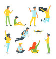people silhouettes in different poses vector image vector image