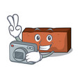 photographer brick mascot cartoon style vector image