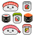 pixel cute sushi rolls set detailed isolated vector image