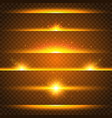 realistic lens flare set collection of gold light vector image