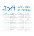 simple 2019 year calendar vector image vector image