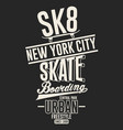 skateboarding freestyle new york t-shirt graphic vector image vector image
