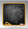 square blackboard with chalk drawing of gear vector image