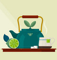 tea timecard with a cup of tea kettle and lemon vector image vector image