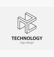 technology logo line design logotype for digital vector image