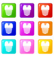tooth implant icons 9 set vector image vector image