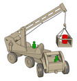 white construction vehicles toy on white vector image vector image