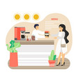 woman ecologist buying coffee in her own reusable vector image vector image
