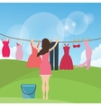 woman female mom drying clothes hanging in rope vector image vector image