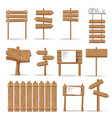 wooden signages and direction signs icons vector image vector image