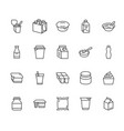 yogurt packaging flat line icons dairy products vector image