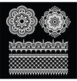 Mehndi Indian Henna tattoo white seamless pattern vector image