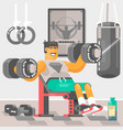 strong bodybuilder sportsman weightlifter vector image