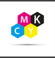 abstract logo four hexagons in cmyk colors vector image