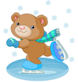 bear on ice skates vector image vector image