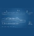 blueprint of aircraft carrier military ship vector image vector image