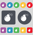 bomb icon sign A set of 12 colored buttons Flat vector image vector image
