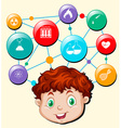 Boy head and science and technology symbols vector image