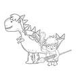 caveman with dinosaur characters vector image