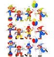 Clown doing different actions vector image vector image