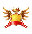 coat arms golden crown shield wings vector image