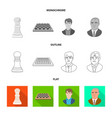 design of checkmate and thin logo set of vector image vector image