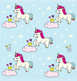 doodle pattern cute unicorn blue vector image