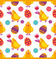 easter seamless pattern chicken with flower and vector image