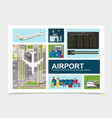 flat airport elements composition vector image vector image