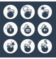 Flat bombs icons set vector image vector image