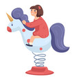 girl riding horse or unicorn in amusement park vector image vector image