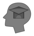 graduation cap inside human head icon monochrome vector image