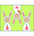 happy easter greeting card with rabbit boy vector image