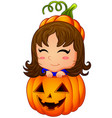 happy girl inside pumpkin cartoon vector image vector image